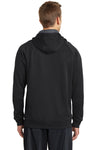 Sport-Tek ST250 Mens Tech Moisture Wicking Fleece Hooded Sweatshirt Hoodie Black Back
