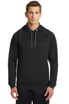 Sport-Tek ST250 Mens Tech Moisture Wicking Fleece Hooded Sweatshirt Hoodie Black Front