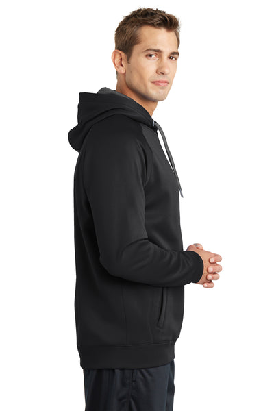 Sport-Tek ST250 Mens Tech Moisture Wicking Fleece Hooded Sweatshirt Hoodie Black Side