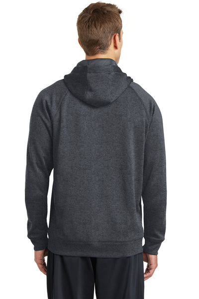 Sport-Tek ST250 Mens Tech Moisture Wicking Fleece Hooded Sweatshirt Hoodie Heather Graphite Grey Back