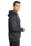 Sport-Tek ST250 Mens Tech Moisture Wicking Fleece Hooded Sweatshirt Hoodie Heather Graphite Grey Side