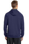 Sport-Tek ST250 Mens Tech Moisture Wicking Fleece Hooded Sweatshirt Hoodie Navy Blue Back