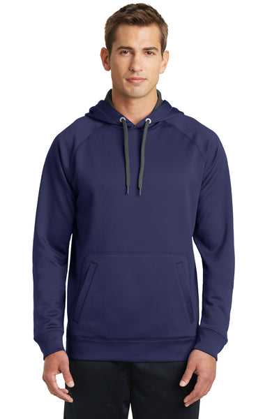 Sport-Tek ST250 Mens Tech Moisture Wicking Fleece Hooded Sweatshirt Hoodie Navy Blue Front