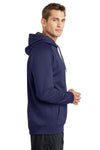 Sport-Tek ST250 Mens Tech Moisture Wicking Fleece Hooded Sweatshirt Hoodie Navy Blue Side