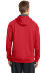Sport-Tek ST250 Mens Tech Moisture Wicking Fleece Hooded Sweatshirt Hoodie Red Back