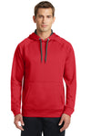 Sport-Tek ST250 Mens Tech Moisture Wicking Fleece Hooded Sweatshirt Hoodie Red Front