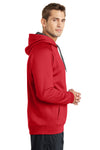 Sport-Tek ST250 Mens Tech Moisture Wicking Fleece Hooded Sweatshirt Hoodie Red Side
