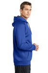 Sport-Tek ST250 Mens Tech Moisture Wicking Fleece Hooded Sweatshirt Hoodie Royal Blue Side