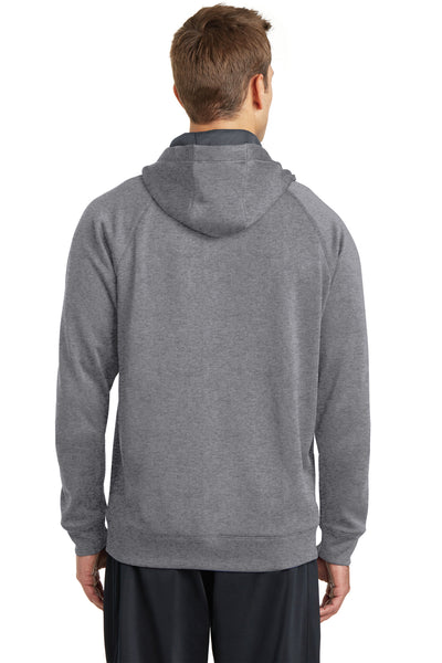 Sport-Tek ST250 Mens Tech Moisture Wicking Fleece Hooded Sweatshirt Hoodie Heather Vintage Grey Back