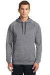 Sport-Tek ST250 Mens Tech Moisture Wicking Fleece Hooded Sweatshirt Hoodie Heather Vintage Grey Front