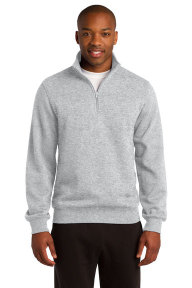 Sport-Tek ST253 Mens Fleece 1/4 Zip Sweatshirt Heather Grey Front