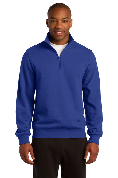 Sport-Tek ST253 Mens Fleece 1/4 Zip Sweatshirt Royal Blue Front