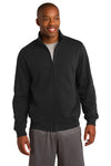Sport-Tek ST259 Mens Fleece Full Zip Sweatshirt Black Front