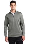 Sport-Tek ST263 Mens Heather Sport-Wick Moisture Wicking Fleece 1/4 Zip Sweatshirt Black Front