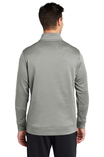 Sport-Tek ST263 Mens Heather Sport-Wick Moisture Wicking Fleece 1/4 Zip Sweatshirt Silver Grey Back