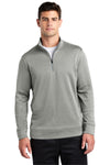 Sport-Tek ST263 Mens Heather Sport-Wick Moisture Wicking Fleece 1/4 Zip Sweatshirt Silver Grey Front