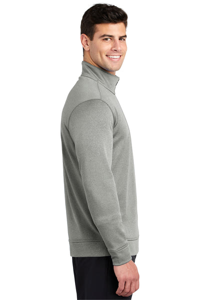 Sport-Tek ST263 Mens Heather Sport-Wick Moisture Wicking Fleece 1/4 Zip Sweatshirt Silver Grey Side