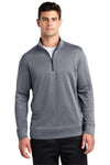 Sport-Tek ST263 Mens Heather Sport-Wick Moisture Wicking Fleece 1/4 Zip Sweatshirt Navy Blue Front