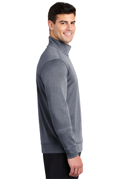 Sport-Tek ST263 Mens Heather Sport-Wick Moisture Wicking Fleece 1/4 Zip Sweatshirt Navy Blue Side