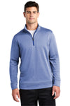 Sport-Tek ST263 Mens Heather Sport-Wick Moisture Wicking Fleece 1/4 Zip Sweatshirt Royal Blue Front