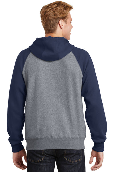Sport-Tek ST267 Mens Fleece Hooded Sweatshirt Hoodie Heather Vintage Grey/Navy Blue Back