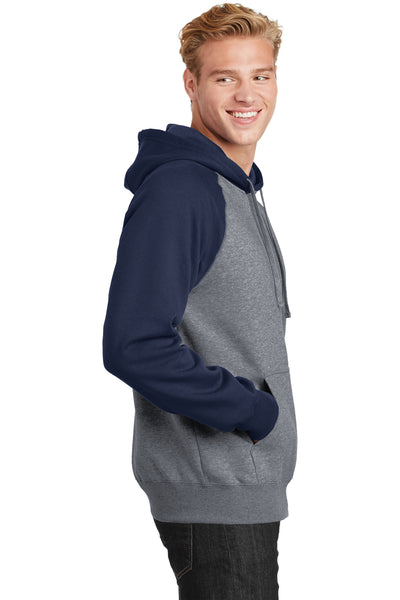 Sport-Tek ST267 Mens Fleece Hooded Sweatshirt Hoodie Heather Vintage Grey/Navy Blue Side