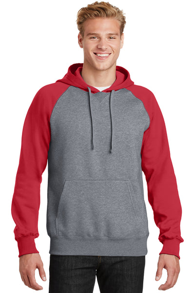 Sport-Tek ST267 Mens Fleece Hooded Sweatshirt Hoodie Heather Vintage Grey/Red Front