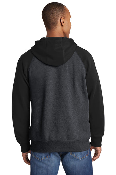 Sport-Tek ST269 Mens Fleece Full Zip Hooded Sweatshirt Hoodie Heather Graphite Grey/Black Back