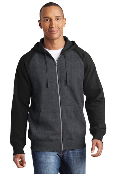 Sport-Tek ST269 Mens Fleece Full Zip Hooded Sweatshirt Hoodie Heather Graphite Grey/Black Front