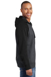 Sport-Tek ST269 Mens Fleece Full Zip Hooded Sweatshirt Hoodie Heather Graphite Grey/Black Side