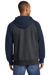Sport-Tek ST269 Mens Fleece Full Zip Hooded Sweatshirt Hoodie Heather Graphite Grey/Navy Blue Back