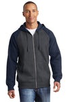Sport-Tek ST269 Mens Fleece Full Zip Hooded Sweatshirt Hoodie Heather Graphite Grey/Navy Blue Front