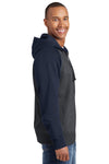 Sport-Tek ST269 Mens Fleece Full Zip Hooded Sweatshirt Hoodie Heather Graphite Grey/Navy Blue Side