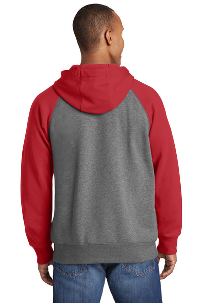 Sport-Tek ST269 Mens Fleece Full Zip Hooded Sweatshirt Hoodie Heather Vintage Grey/Red Back