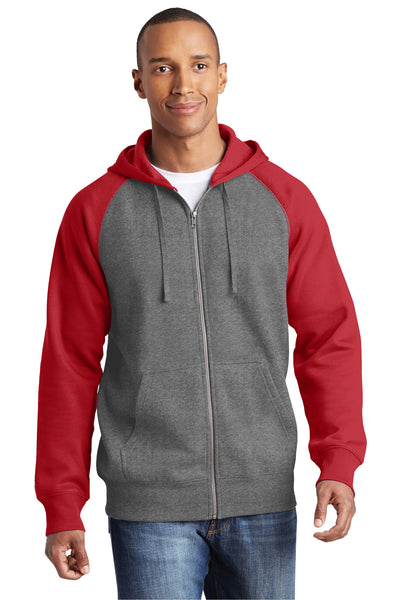 Sport-Tek ST269 Mens Fleece Full Zip Hooded Sweatshirt Hoodie Heather Vintage Grey/Red Front
