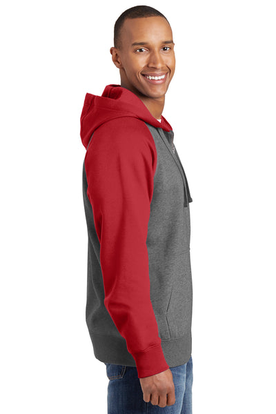 Sport-Tek ST269 Mens Fleece Full Zip Hooded Sweatshirt Hoodie Heather Vintage Grey/Red Side