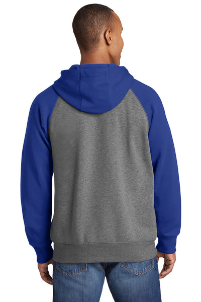 Sport-Tek ST269 Mens Fleece Full Zip Hooded Sweatshirt Hoodie Heather Vintage Grey/Royal Blue Back