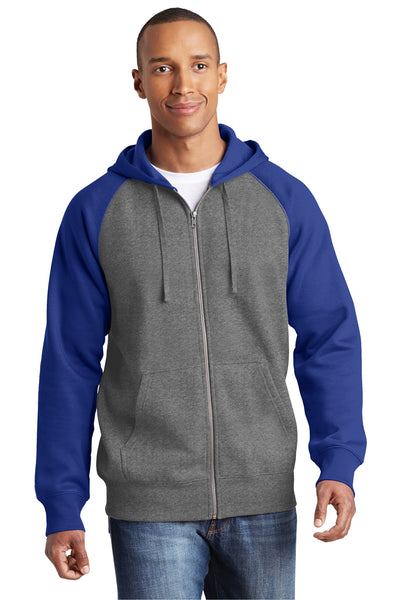 Sport-Tek ST269 Mens Fleece Full Zip Hooded Sweatshirt Hoodie Heather Vintage Grey/Royal Blue Front