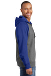 Sport-Tek ST269 Mens Fleece Full Zip Hooded Sweatshirt Hoodie Heather Vintage Grey/Royal Blue Side