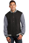 Sport-Tek ST270 Mens Snap Down Fleece Letterman Jacket Black/Heather Grey/White Front
