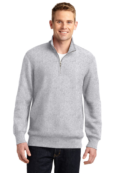 Sport-Tek ST283 Mens Fleece 1/4 Zip Sweatshirt Heather Grey Front