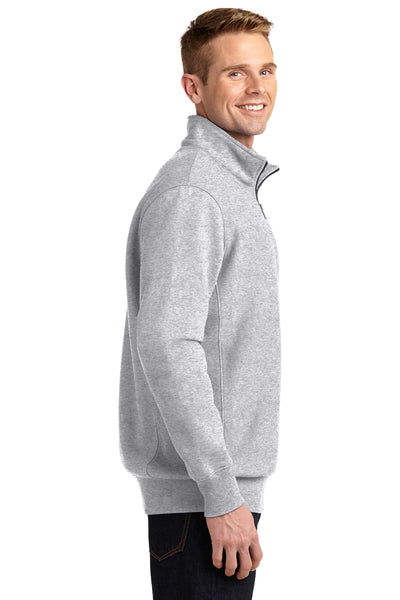 Sport-Tek ST283 Mens Fleece 1/4 Zip Sweatshirt Heather Grey Side