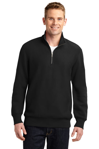 Sport-Tek ST283 Mens Fleece 1/4 Zip Sweatshirt Black Front