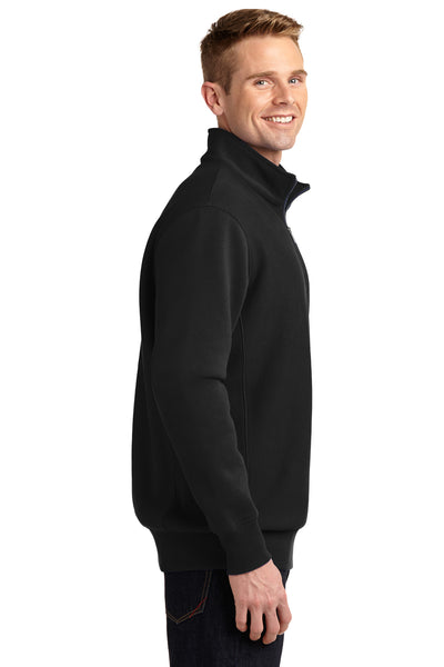 Sport-Tek ST283 Mens Fleece 1/4 Zip Sweatshirt Black Side