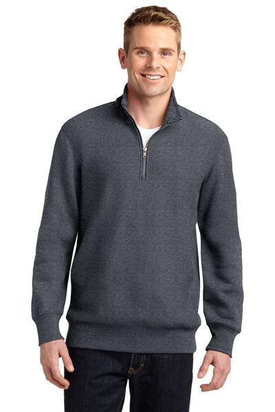 Sport-Tek ST283 Mens Fleece 1/4 Zip Sweatshirt Heather Graphite Grey Front