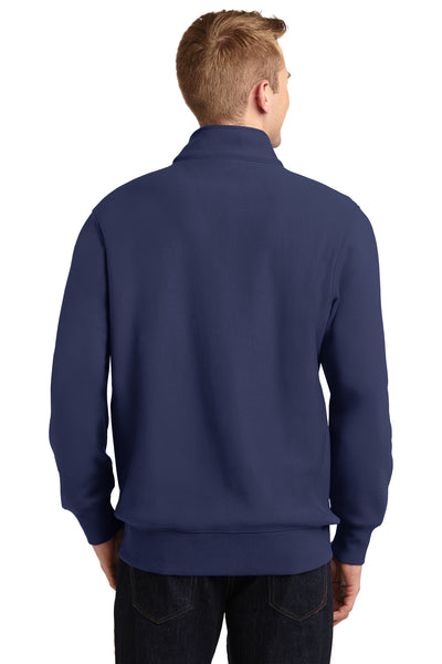 Sport-Tek ST283 Mens Fleece 1/4 Zip Sweatshirt Navy Blue Back