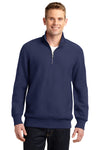 Sport-Tek ST283 Mens Fleece 1/4 Zip Sweatshirt Navy Blue Front