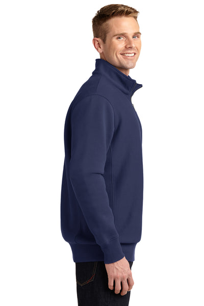 Sport-Tek ST283 Mens Fleece 1/4 Zip Sweatshirt Navy Blue Side