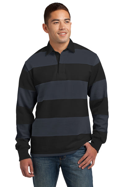 Sport-Tek ST301 Mens Classic Rugby Long Sleeve Polo Shirt Black/Grey Front