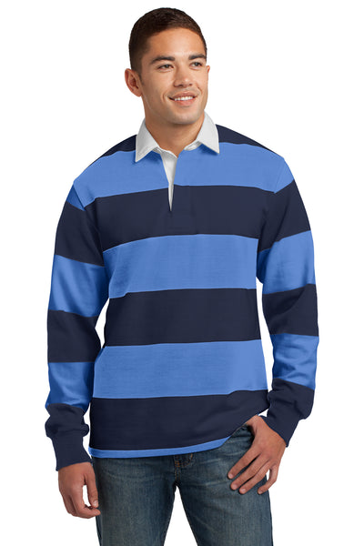 Sport-Tek ST301 Mens Classic Rugby Long Sleeve Polo Shirt Navy Blue/Carolina Blue Front